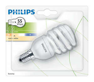 2X PACK PHILIPS 12W (55W) SES/E14 TWISTER SPRIAL ENERGY SAVER BULB 2700k