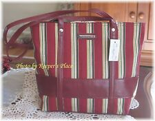 Longaberger Holiday Stripe Double Handle Tote Bag Purse Faux Leather Trim New