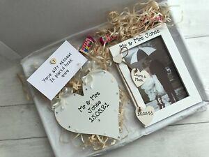 Handmade Personalised Wedding Day Mr & Mrs Photo Frame Plaque Gift Hamper