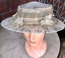 Rare Antique Vintage Edwardian Ivory Net Horsehair Summer Hat W/ Flowers