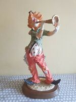 Vintage Clown Figurine With Post Horn Mounted On Wooden Base