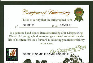 Our Disappearing Planet Certificate of Authenticity (COA) - FOR OUR AUTOGRAPHS!!