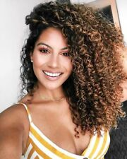 Sexy Women's Thick Afro Hair Wig Brown Long Kinky Curly Long Ombre Blonde Wigs