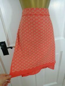 Anany Orange / Coral Embroidered Lined Skirt, 40 UK 12, New With Tags £49