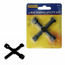 4 Way Service Utility Key for Gas/Electric Meter Cabinets - Bleed Radiators