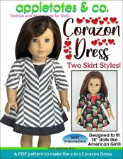 """18"""" Doll Sewing Pattern -Corazon Dress Sewing Pattern for American Girl Dolls"""
