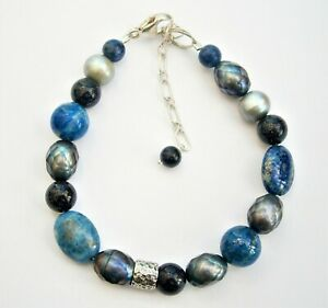 A345:) Blue glass stone and real pearl beaded bracelet 925 sterling silver clasp