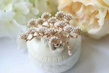 Broche Branch Arbre Du Pin Mini Perle Blanc Vintage Style Doré Original XZ 1