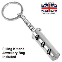 Pet Paw Keyring Keychain Cremation Urn Pendant Ashes Necklace Funeral Memorial