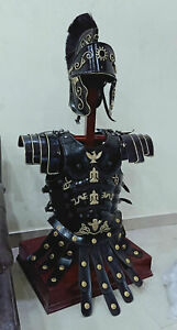 Medieval Roman Centurion Armor Helmet With Armor Muscle Jacket Black Costume