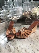 Ted Baker Size 8 Wedges Womens Studded Leather Sandals Heels Peep Toe Summer
