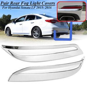 Pair Rear Bumper Fog Light Lamps Cover Trim ABS For Hyundai Sonata LF 2015-2017
