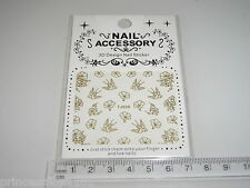 3D Nail tip Art stickers transfer water decals Gold Bird +  Flower TJ39