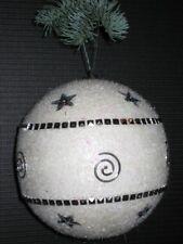 2er Set Palle di Natale Accessori 11,5 cm Bianco/Argento Nr.00078 Nuovo