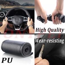 DIY PU Leather Soft Steering Wheel Cover With Needles & Thread Anti-slip M Black