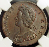 1729, Great Britain, George II. Stunning Copper ½ Penny Coin. Pop 1/8. NGC MS62!