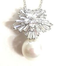 "Large 12mm White Akoya Pearl Diamond Charm Pendant Necklace 18"" Wedding Gift P42"