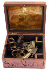 Antique Vintage Marine Brass Sextent Nautical Wooden Box Christmas Gift