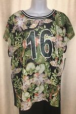 NWT Womens PLUS MODA Size 4X BLACK Green TROPICAL Sheer Sporty BLING Tee JERSEY