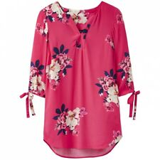 Joules Raspberry Bircham Bloom Odelle Tunic Top With Tie Sleeves Size 16