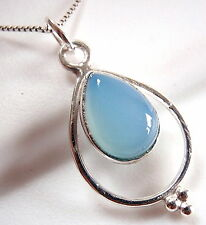 Blue Chalcedony Necklace 925 Sterling Silver Hoop Silver Dot Accents