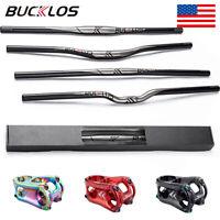 BUCKLOS 25.4/31.8mm MTB/Downhill Bike Handle Bar 660-780mm Flat/Riser Bar&Stem