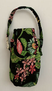 Vera Bradley Tropical Pink Pattern Small Phone Wristlet, Black Floral, EUC