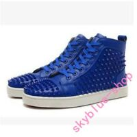 Mens Punk Real Leather Rivets Lace Up Sneakers High Top Running Fashion Shoes sz