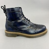 Bronx Navy Blue Patent Leather Ankel Zip Lace Up Brogues Wingtip Boots 40 UK6.5