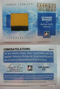 2008-09 ITG Superlative Ray Bourque 1/1 record holders GOLD 1 of 1 jersey bruins