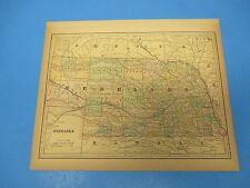 1893 Popular Atlas Map 1 page, Nebraska, Suitable to Frame, Color