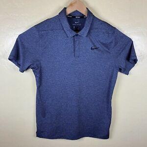 Nike Golf Polo Shirt Mens Small Dri Fit Blue Striped Short Sleeve Performance