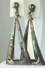 VTG IGUALA MEXICAN STERLING SILVER ABALONE SHELL TALL RECTANGLE HOOP EARRINGS