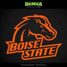 "Boise State - Broncos - Icon with Text - NCAA - Orange Vinyl Sticker Decal 5"""