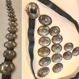 """Vintage Navajo sterling silver turquoise 15 piece ladies Concho belt 28-36"""""""