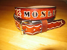 CUSTOM MADE LEATHER BELT  BROWN( WITH YOUR NAME) AND HAND TOOLING 1 1/2 WIDTH