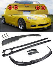 ZR1 Front Lip Splitter Side Skirts & Rear Spoiler Kit For 05-13 Corvette C6 BASE