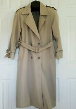 Womens Khaki LONDON FOG long trench coat double-breasted belted L 12 PETITE 12P