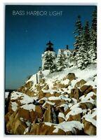 Postcard Bass Harbor Light Lighthouse, Maine snow winter rocks ME MS322
