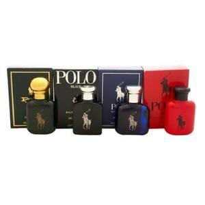 POLO 4 PCS MINI SET FOR MEN: POLO 0.5 OZ EDT + POLO BLACK 0.5 OZ EDT + POLO BLUE