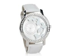 with White Band Watch Yves Rocher Silvertone Metal Floral