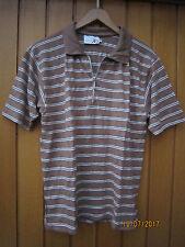 MISS JOY - Polo-Shirt, Kurzarm, braun-natur-gestreift, Viscose m. Elasthan