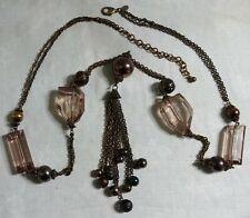 "Chico's Chunky BT Copper Bead Topaz Plastic Bead Tassel Pendant 40"" Necklace"