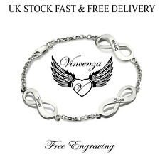 Personalised 3 INFINITY Charms Engraved Name Silver Bracelet Vincenza Gift UK