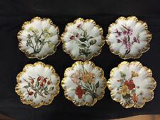 6 -BEAUTIFUL LIMOGES PORCELAIN PLATES W/ HAND PAINTED FLOWERS A. LANTERNIER