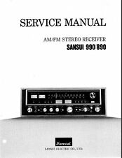 SANSUI 890 990 AM FM STEREO RECEIVER SERVICE MANUAL INC SCHEMS PRINTED ENGLISH