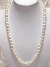"""Long 25"""" Genuine 8-9mm Natural White Akoya Cultured Pearl Necklace Hand Knotted"""