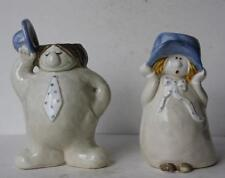 Fitz and Floyd Man-Woman with Hat Figures Candle Holders Set of 2 Pottery-Vtg