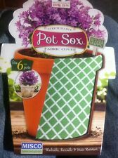 #1467 Misco Pot Sox Flower Pot Stretch Fabric Cover Fits 6 In Pot Green WhiteNEW