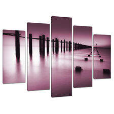 Set of 5 Plum Wall Art Canvas Pictures Living Dining Room Bedroom 5087